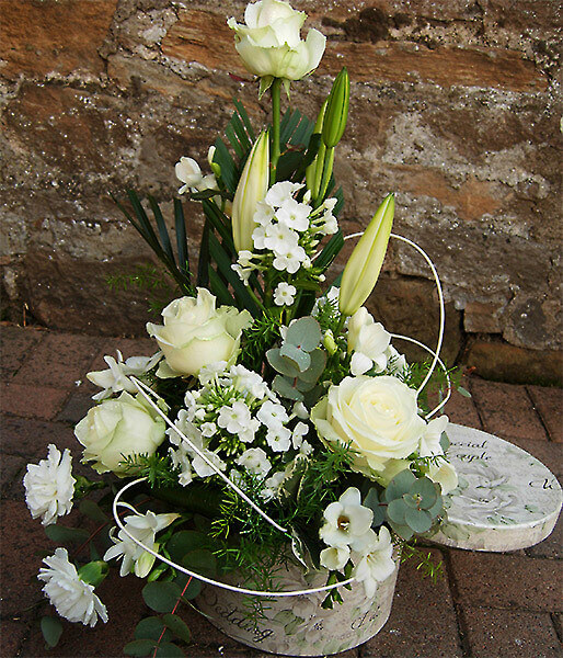 White roses and collection of white flowers