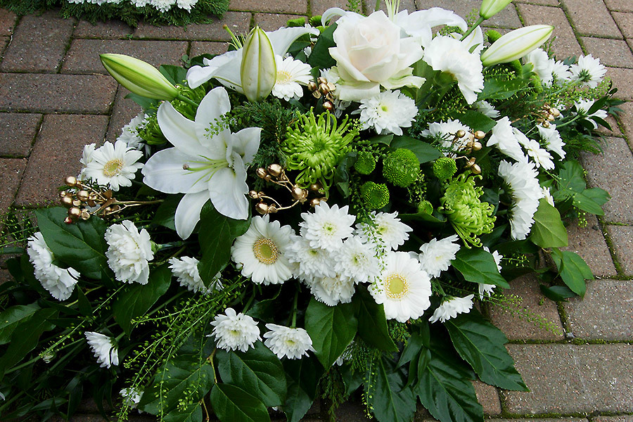 White floral arrangement for funeral