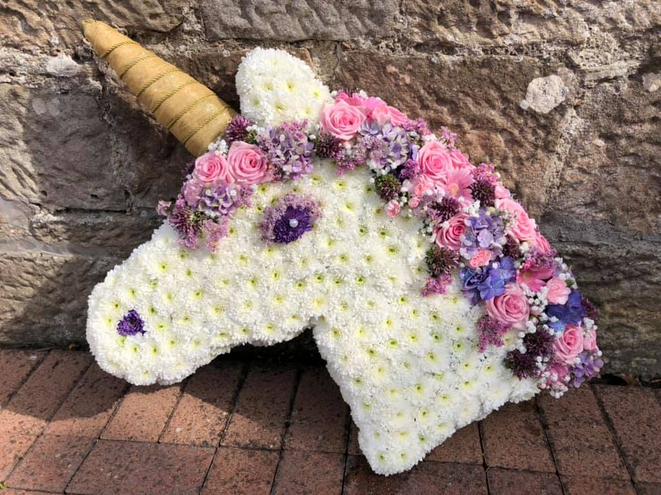unicorn floral tribute