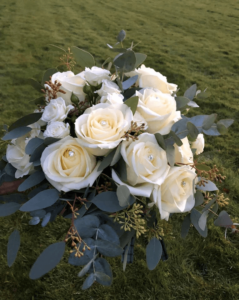 White roses floral bouquet